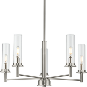 Kellwyn Collection Five-Light Brushed Nickel and Clear Glass Transitional Style Chandelier Light