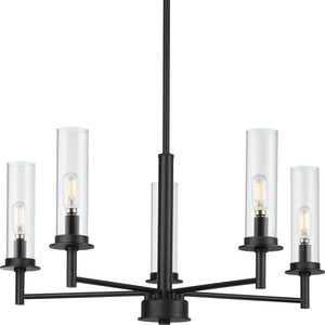 Kellwyn Collection Five-Light Matte Black and Clear Glass Transitional Style Chandelier Light