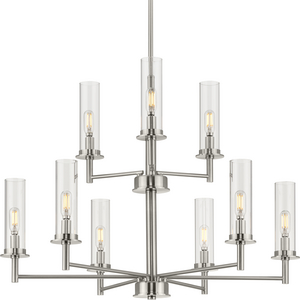 Kellwyn Collection Nine-Light Brushed Nickel and Clear Glass Transitional Style Chandelier Light