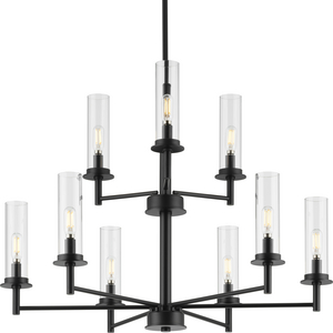 Kellwyn Collection Nine-Light Matte Black and Clear Glass Transitional Style Chandelier Light