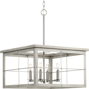 Hedgerow Collection Four-Light Brushed Nickel and Grey Washed Oak Farmhouse Style Chandelier Light