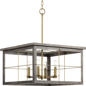 Hedgerow Collection Four-Light Distressed Brass and Aged Oak Farmhouse Style Chandelier Light