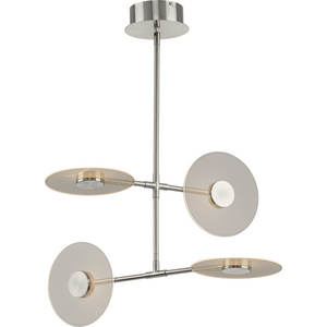 Spoke LED Collection Four-Light Brushed Nickel Modern Style Hanging Chandelier Light