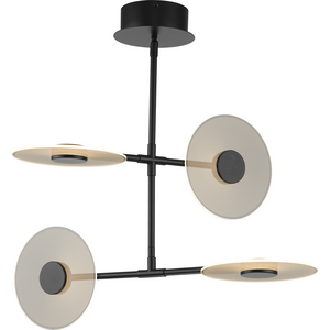 Spoke LED Collection Four-Light Matte Black Modern Style Hanging Chandelier Light