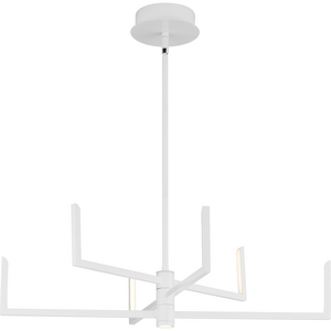 Pivot LED Collection Six-Light Satin White Modern Style Chandelier with Downlight