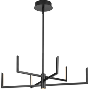 Pivot LED Collection Six-Light Matte Black Modern Style Chandelier with Downlight
