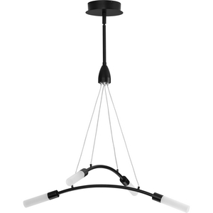 Kylo LED Collection Four-Light Matte Black and Frosted Acrylic Modern Style Chandelier Light