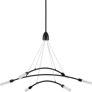 Kylo LED Collection Six-Light Matte Black and Frosted Acrylic Modern Style Chandelier Light