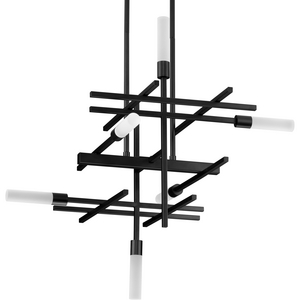 Quadrant LED Collection Six-Light Matte Black Modern Style Chandelier Light