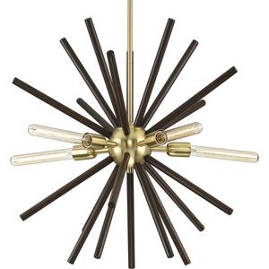 Thorpe Collection Five-Light Satin Brass Mid-Century Modern Style Chandelier Light