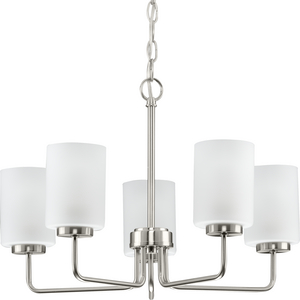 Merry Collection Five-Light Brushed Nickel and Etched Glass Transitional Style Chandelier Light