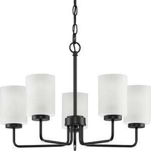 Merry Collection Five-Light Matte Black and Etched Glass Transitional Style Chandelier Light