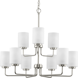 Merry Collection Nine-Light Brushed Nickel and Etched Glass Transitional Style Chandelier Light