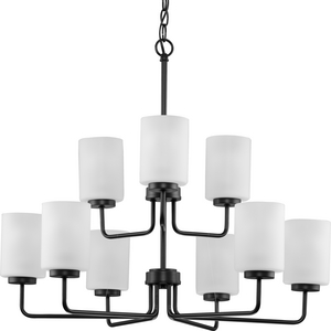 Merry Collection Nine-Light Matte Black and Etched Glass Transitional Style Chandelier Light