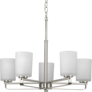 League Collection Five-Light Brushed Nickel and Etched Glass Modern Farmhouse Chandelier Light