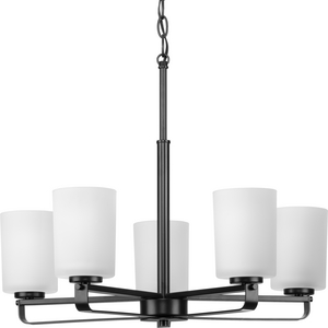 League Collection Five-Light Matte Black and Etched Glass Modern Farmhouse Chandelier Light