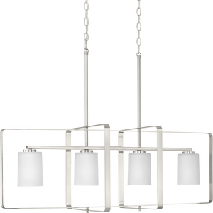 League Collection Four-Light Brushed Nickel and Etched Glass Modern Farmhouse Chandelier Light