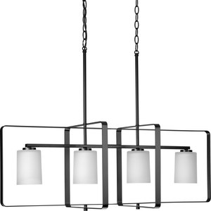 League Collection Four-Light Matte Black and Etched Glass Modern Farmhouse Chandelier Light