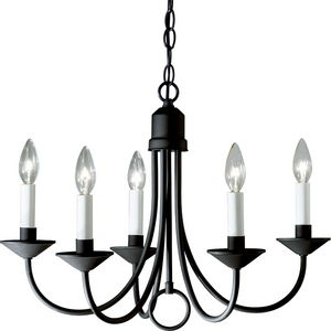Five-Light Chandelier in Textured Black