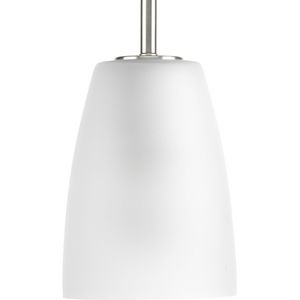 Leap Collection One-Light Brushed Nickel Etched Glass Modern Pendant Light
