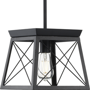 Briarwood Collection One-Light Textured and Cerused Black Farmhouse Style Hanging Mini-Pendant Light