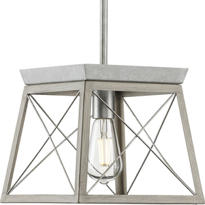 Briarwood Collection One-Light Galvanized and Bleached Oak Farmhouse Style Hanging Mini-Pendant Light