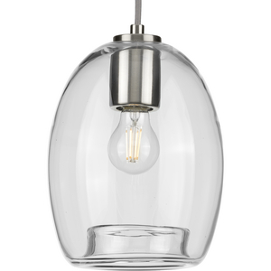 Caisson Collection Brushed Nickel One-Light Mini-Pendant