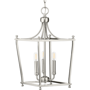 Parkhurst Collection Brushed Nickel Three-Light Foyer