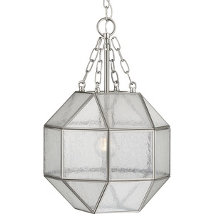 Mauldin Collection One-Light Brushed Nickel Clear Seeded Glass Global Pendant Light