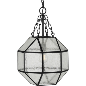 Mauldin Collection One-Light Matte Black Clear Seeded Glass Global Pendant Light