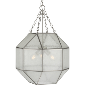 Mauldin Collection Three-Light Brushed Nickel Clear Seeded Glass Global Pendant Light