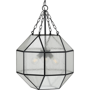 Mauldin Collection Three-Light Matte Black Clear Seeded Glass Global Pendant Light