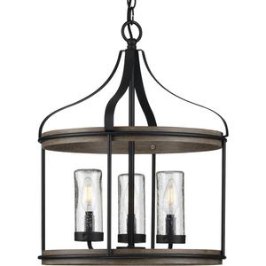 Brenham Collection Black Three-Light Outdoor Pendant