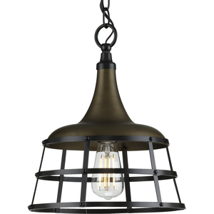 Bastille Collection Aged Brass One-Light Pendant