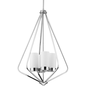 Elevate Collection Four-Light Polished Chrome and Etched White Glass Modern Style Hanging Pendant Light