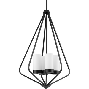Elevate Collection Four-Light Matte Black and Etched White Glass Modern Style Hanging Pendant Light