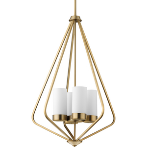 Elevate Collection Four-Light Brushed Bronze and Etched White Glass Modern Style Hanging Pendant Light