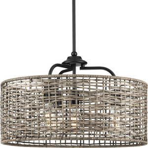 Lavelle Collection Four-Light Matte Black and Mocha finish Rattan Hanging Pendant Light