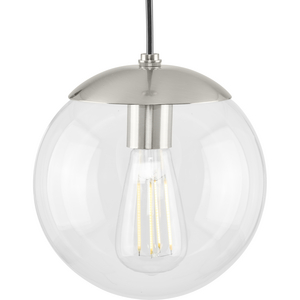 Atwell Collection 8-inch Brushed Nickel and Clear Glass Globe Small Hanging Pendant Light