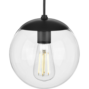 Atwell Collection 8-inch Matte Black and Clear Glass Globe Small Hanging Pendant Light