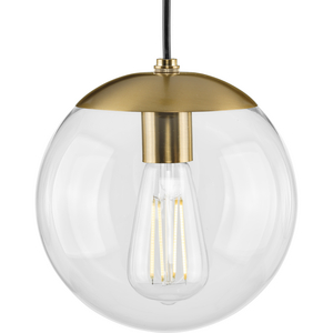 Atwell Collection 8-inch Brushed Bronze and Clear Glass Globe Small Hanging Pendant Light