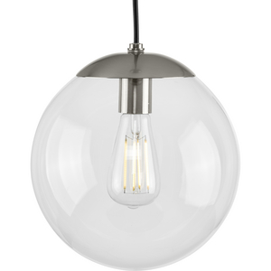 Atwell Collection 10-inch Brushed Nickel and Clear Glass Globe Medium Hanging Pendant Light