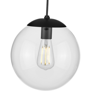 Atwell Collection 10-inch Matte Black and Clear Glass Globe Medium Hanging Pendant Light