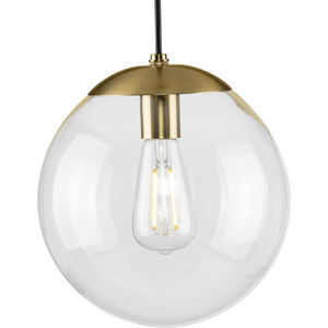 Atwell Collection 10-inch Brushed Bronze and Clear Glass Globe Medium Hanging Pendant Light
