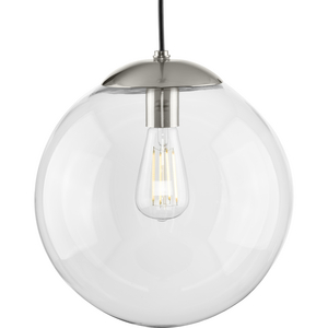 Atwell Collection 12-inch Brushed Nickel and Clear Glass Globe Large Hanging Pendant Light