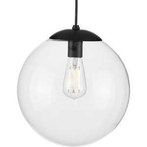 Atwell Collection 12-inch Matte Black and Clear Glass Globe Large Hanging Pendant Light