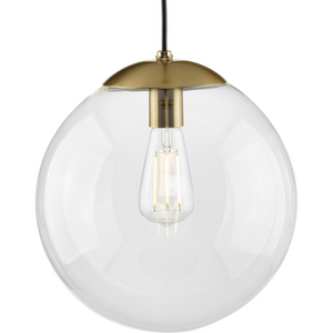 Atwell Collection 12-inch Brushed Bronze and Clear Glass Globe Large Hanging Pendant Light