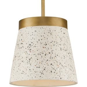 Terrazzo Collection One-Light Distressed Brass and Sand Terrazzo Hanging Pendant Light