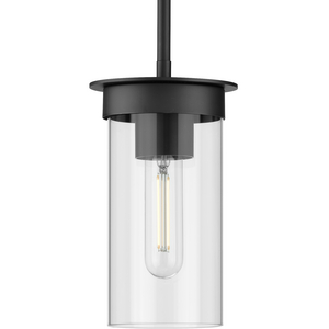 Kellwyn Collection One-Light Brushed Nickel and Clear Glass Transitional Style Hanging Mini-Pendant Light