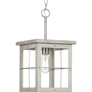 Hedgerow Collection One-Light Brushed Nickel and Grey Washed Oak Farmhouse Style Hanging Mini-Pendant Light
